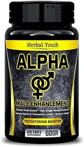 Natural ALPHA Male Supplement Pills - Enlargement Booster Increases Energy, Mood & Endurance - Most Potent & Powerful Male Performance Supplement 60 Vegetable Cellulose Capsules
