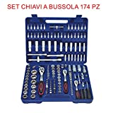 euronovità en-29058 Combination Spanner Set Ratchet, 174 Pieces Socket with Inserts for Work Hand Tool Set