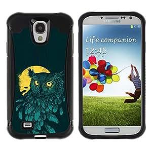 Suave TPU Caso Carcasa de Caucho Funda para Samsung Galaxy S4 I9500 / Teal Yellow Night Bird Painting / STRONG
