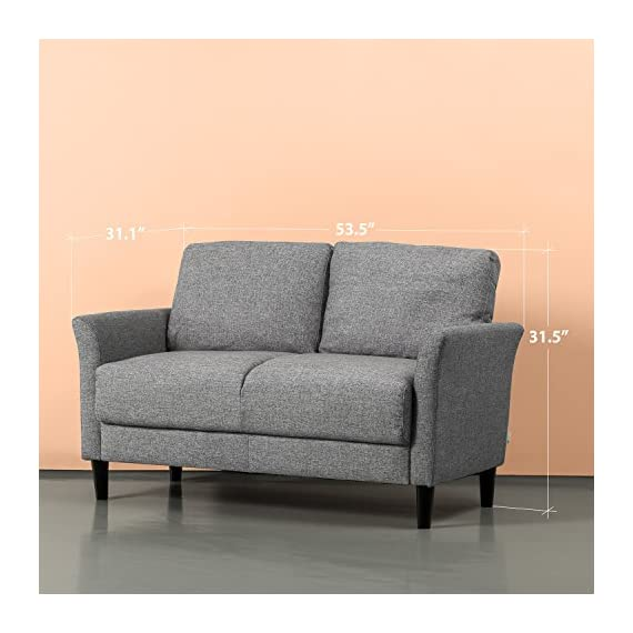 Zinus Jackie Love Seats, Loveseat, Soft Grey - A SMALL SPACE'S BEST FRIEND - Don't let your smaller spaces go bare! This 53 inch loveseat is soft yet supportive and perfectly suited for an apartment, small office or cozy nook BUILT TO LAST - A naturally strong frame is wrapped in supportive foam cushioning and durable woven fabric; seats a maximum weight capacity of 500 lbs; seat cushions are secured to the frame and are not detachable, while back cushions are detachable TOOL FREE ASSEMBLY - All parts and instructions are cleverly packed into one box for easy assembly in less than 20 minutes - sofas-couches, living-room-furniture, living-room - 51IwIsODMrL. SS570  -