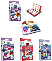 SmartGames IQ Game Bundle 3-Pack: IQ XOXO, IQ Stars, IQ Link. 360 Travel-Friendly Challenges for Ages 6 - Adult