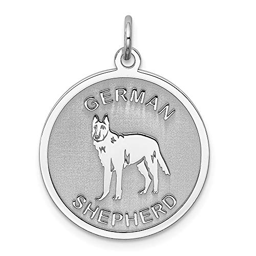 925 Sterling Silver German Shepherd Disc Pendant Charm Necklace Animal Dog Engravable Round Fine Jewelry Gifts For Women For Her ()