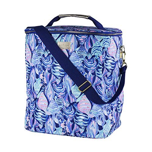 Lilly Pulitzer Tumbler - Lilly Pulitzer Insulated Wine Carrier Cooler with Zip Close, Top Handle, and Adjustable Strap (Scale Up)