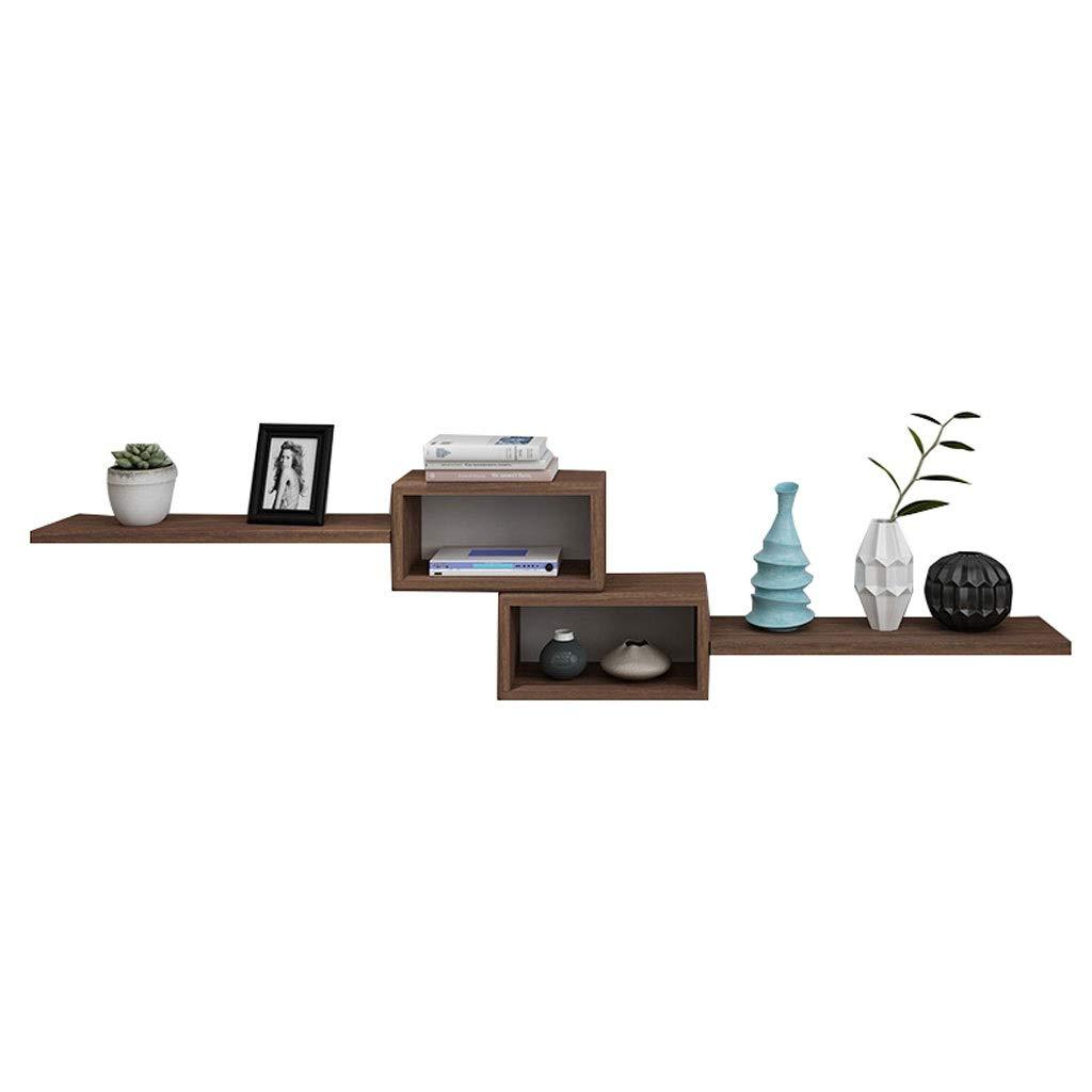 LDG ウォールシェルフ、木製 壁掛け棚 マウント済み ストレージ デコラティブ リビングルーム テレビの壁 ぶら下がっている 壁掛け棚 - クルミ色 (色 : C) B07SCQ6D8M C