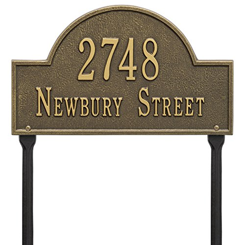 Whitehall Arch Marker - Standard Lawn - Two Line- Antique Brass