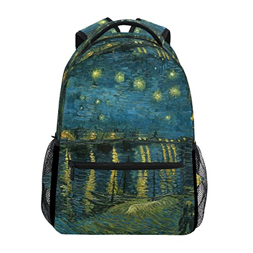 AHOMY School Backpack Van Gogh Starry Night Over The Rhone College Book Bag Travel Rucksack