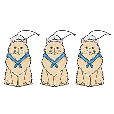 Woofy Meow Hanging Car Air Freshener - Adorable Kitty Design - Long Lasting Scents - [ Pack of 3 Aquatic Breeze ]: Automotive
