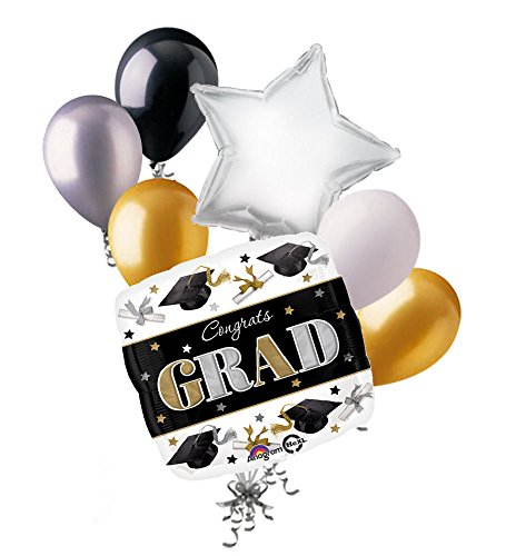 7 pc Grad Caps & Diploma Happy Graduation Balloon Bouquet Party Decoration Gold