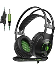 Gaming Headset with Mic In-line Volume Control for Xbox One PS4 PC Mac iPad iPod Laptop Computer Smart phones, Sades SA930 3.5mm Noise Isolation Bass Surround Over-Ear Headphones(Black&Green)