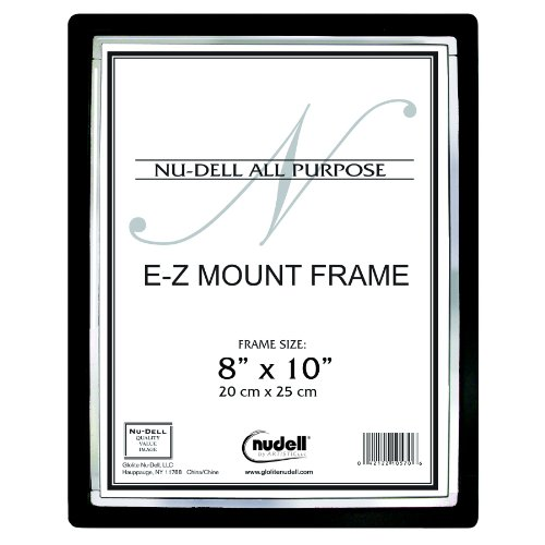 """8"""" x 10"""" EZ-Mount II Economy Document Frame with Plastic Face, Black with Silver Trim"""
