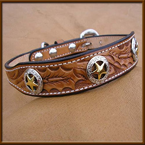 Custom Braiding Hand Tooled Collar with New Star Concho Designs 1
