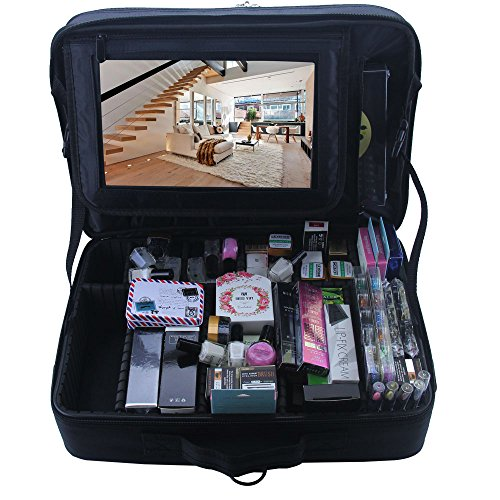 Relavel 3 layer Multi -Functional Professional Makeup Train Case Super  Large Makeup bag Organizer for 76154ee41694e