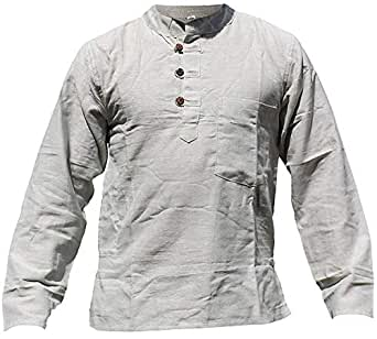 Shopoholic Fashion Mens Plain Hemp Collarless Grandad Shirt Full Sleeved Hippie Summer Light Tops[S,L.Grey]