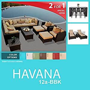 Havana 22 Piece Outdoor Wicker Patio Furniture Package HAVANA-12a-BBK