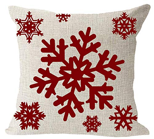 Happy Winter Holiday Red Snowflake Merry Cotton Lines Violin Music Note Cotton Linen Square Throw Waist Pillow Case Decorative Cushion Cover Pillowcase Sofa 18x 18