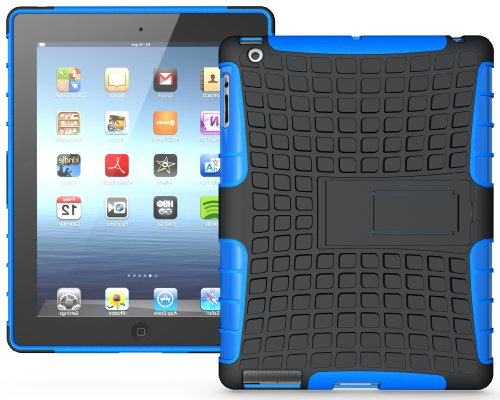 Nakedcellphone BLUE GRENADE RUGGED TPU SKIN HARD CASE COVER STAND FOR APPLE iPAD 2nd 3rd 4th GEN 2/3/4 from Nakedcellphone