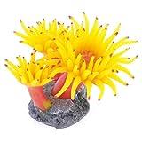 Uxcell Concrete Base Silicone Coral Anemone Aquarium Plant Decoration, Yellow