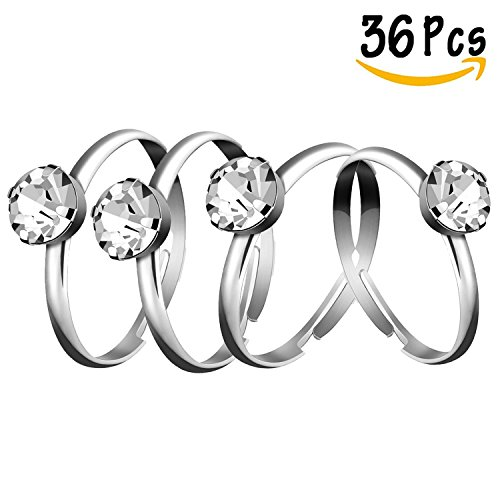 Whaline 36 Pack Silver Diamond Engagement Rings for Wedding Table Decorations, Christmas Thanksgiving Party Supply, Favor Accents, Cupcake Toppers Christmas Party Decorations Online