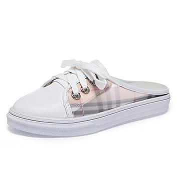 DANDANJIE Zapatos de Mujer Zapatillas de Moda Casual Primavera y Verano Zapatos de tacón Plano de Malla Blanca Sandalias Zapatos caseros: Amazon.es: ...