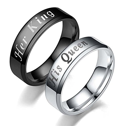 Couple Rings - Her King His Queen Titanium Ring His and Hers Couples Stainless Steel Rings Set Wedding Valentine's Day Gift