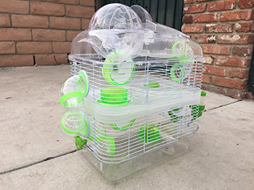 Sparkle 3 Levels Habitat Hamster Rodent Gerbil Mouse Mice Cage with Large Exercise Running Ball On TopClear Transparent (Green) (Green)