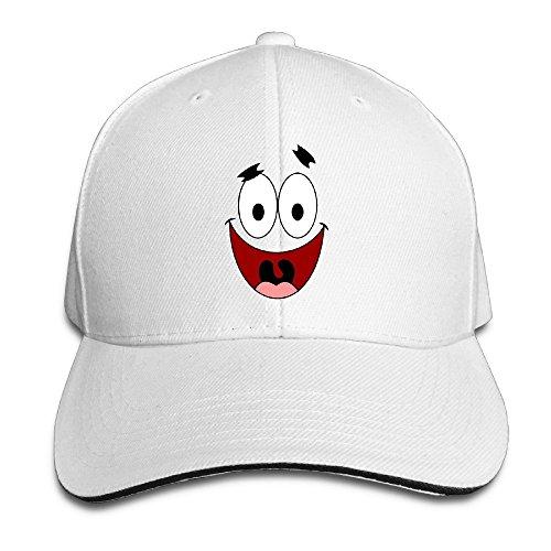 Doisybob Unisex Patrick Star Face Adjustable Snapback Trucker Hat White One ()