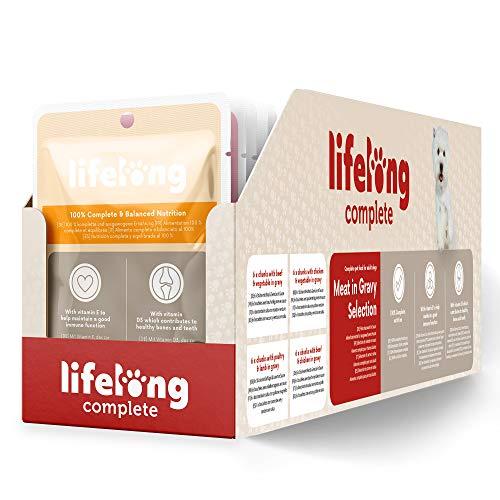 Marca Amazon – Lifelong Alimento completo para perros adultos – Selección de carne en salsa, 2,4 kg (24 bolsitas x 100g)