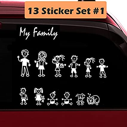 Totomo 13 stick figure my family car stickers style1 with pet dog