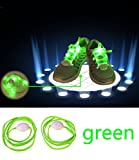 Topcabin 7 Colors LED Light Shoelace in 7 Colors Flash Lighting the Night for Party Hip-hop Dancing (Green)