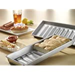 USA Pan Bakeware Easy Slide Non Stick Cookie Sheet Pan, Small, Silver 21 Made in the USA aluminized steel Small cookie scoop pan, commercial grade and heavy gauge Unique corrugated surface design facilitates air circulation for evenly baked goods and quick release Coated with Americoat - a silicone that is PTFE, PFOA and BPA free; made with a blend of New and recycled steel; Limited life-time