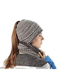 INFLATION Ponytail Beanie High Bun Hats Women/Girls Scarf Set Soft Stretch Winter