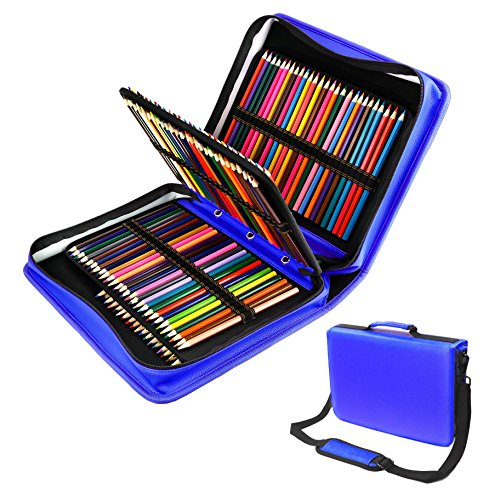 180 Slots PU leather Colored Pencil Case - Large Capacity Carrying Case for Prismacolor Watercolor Pencils, Crayola Colored Pencils, Marco Pens, Gel Pens, Lipsticks and Brushes by YOUSHARES (Blue) Blue Watercolor Pencil