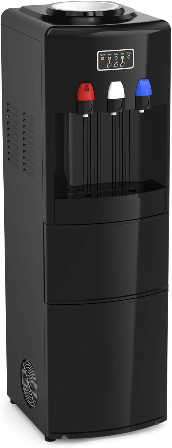 Northair Hot & Cold Water Dispensers with Ice Maker, 2, 3 or 5 Gallon Bottle, Child Safety Protect, Removable Ice and Water Separator, Ice Storing Plate,Black