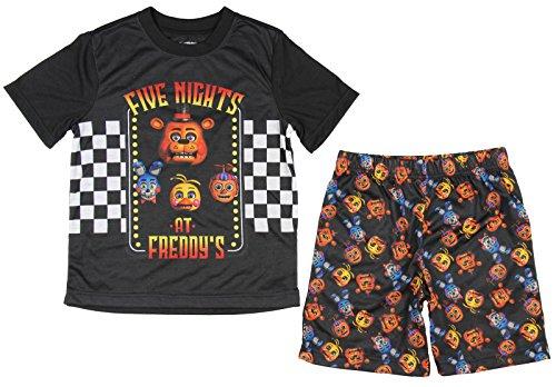 Time Short Set (Intimo Big Boys' Five Nights At Freddy's Checkerboard Pajama Short Set, Black, 14)