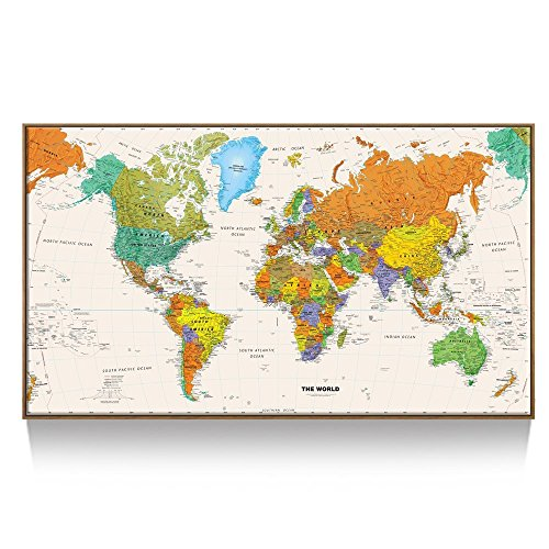 Kreative Arts - Large Size World Map Wall Art - Natural Framed Art Print Picture Wall Decor Home Interior - Map Picture with Floater Frame for Office Wall Decor 55x32inch by Kreative Arts