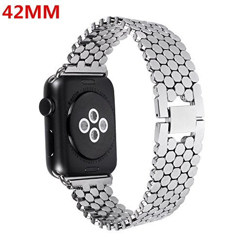 Apple Watch Band,Lwsengme Steel Wrist Band with Adjustable Buckle for Apple iWatch/New Apple iWatch Series 2/ Apple Watch Series 1/Nike+ (42mm-Light Metal)