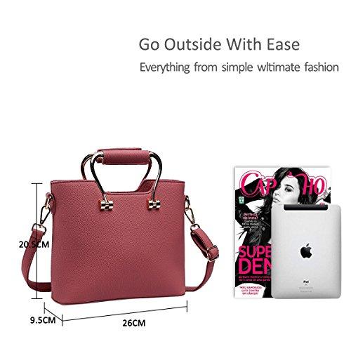 NICOLE&DORIS Nuevo bolso de la manera de las mujeres Messenger Shoulder Purse Tote Bolsa de trabajo casual Bolsa impermeable negro de color rosa oscuro