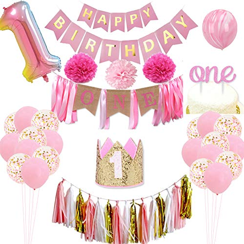 1st Birthday Girl Decorations - 1st Girls Birthday Party Supplies Includes 22 Balloons, 15 Decorative tassels, a Happy Birthday Banner, an ONE Burlap Banner, a Crown as Outfit, an ONE cake Topper, 3 Pom Pom Flowers, Great for Girls First Birthday Party ()