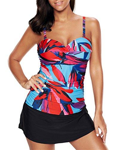 American Trends Womens Retro Pantskirt Swimdress One 2 Piece Swimsuits Printed Plus Size Swimwear Tankini Bathing Suits