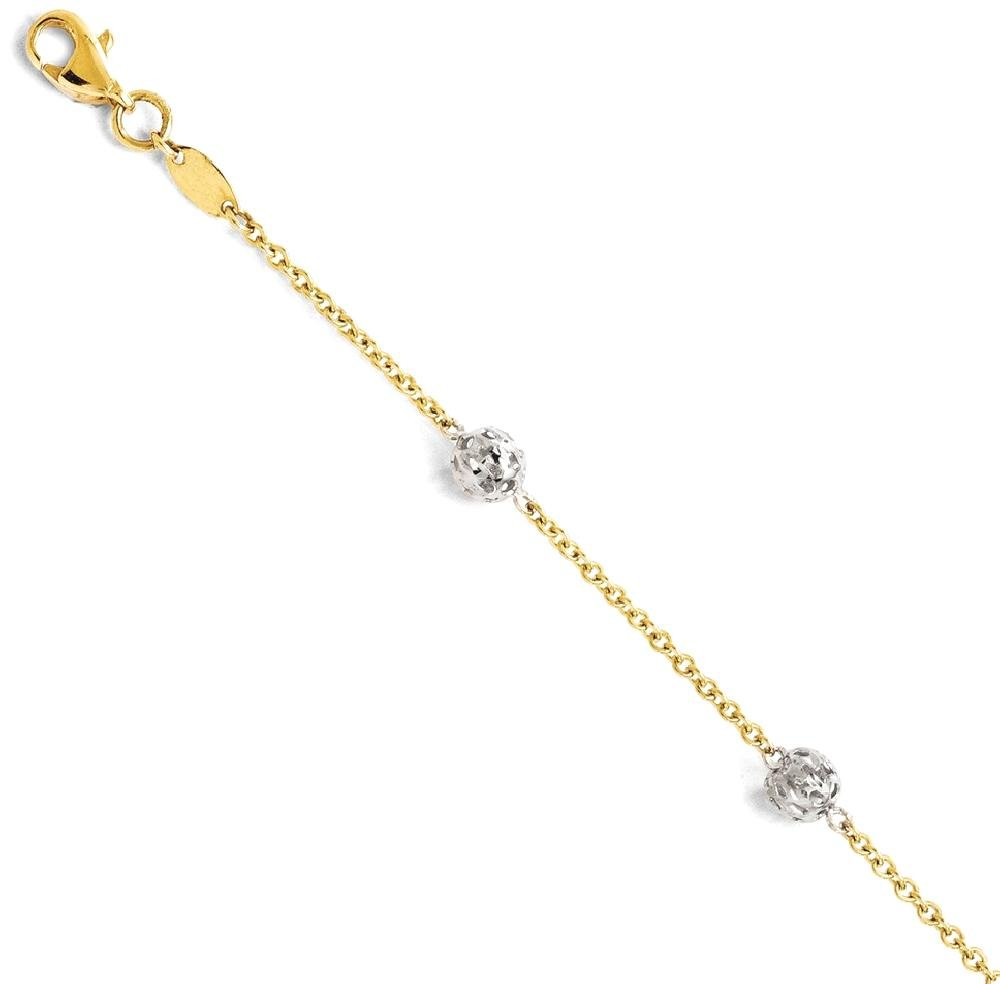 ICE CARATS 14k Two Tone Yellow Gold Anklet Ankle Beach Chain Bracelet Fine Jewelry Gift Set For Women Heart