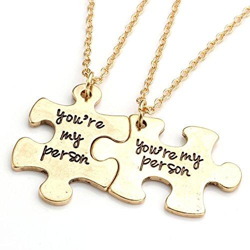 Jovivi 2 pz You are My Person Juego de joyería con colgante de aleación de rompecabezas - Día de San Valentín
