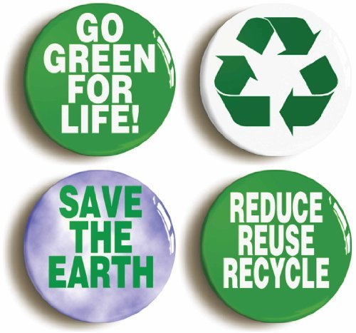 4 x Green Environmental Buttons Pin (Size 1inch Diameter) Recycle Ecology ()