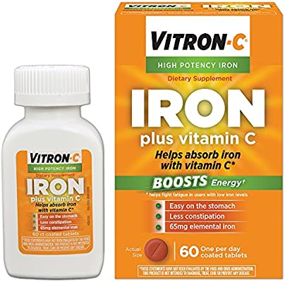 Vitron-C High Potency Iron Supplement with Vitamin C   60 Count