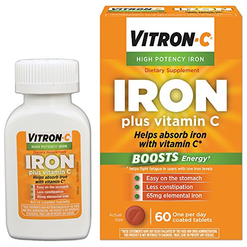 Supplements Iron - Vitron-C High Potency Iron Supplement with Vitamin C | 60 Count