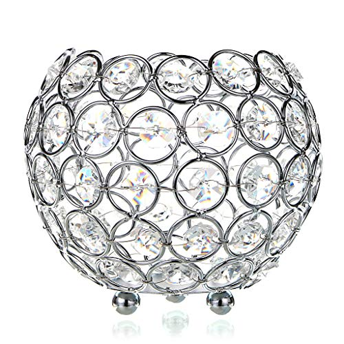 - OwnMy Crystal Bowl Votive Candleholder Sparkly Tea Light Candle Holders Candle Lanterns Decorative Candelabra Vase for Christmas New Year Wedding Table Centerpieces (12CM Silver Tone)