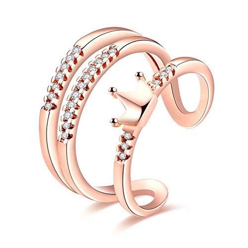 Crown Adjustable Ring (YEAHJOY Women's 3 Lines Crown Finger Rings with Micro CZ Stones Paved Adjustable Size Rings (rose-gold-plated-base))