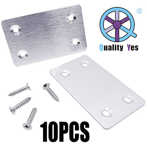 QY 10PCS Silver Tone Stainless Steel Straight Support Shelf Bracket Flat Corner Brace Brackets Mending Plates Repair Fixing Joining (Silver Tone Plate)