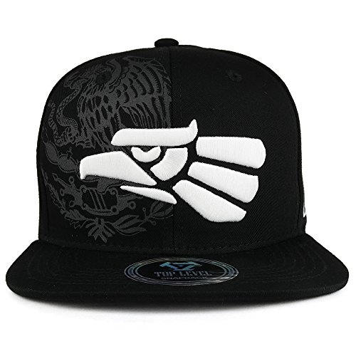 Trendy Apparel Shop Hecho En Mexico Eagle 3D Embroidered Flat Bill Snapback Cap - Black White by Trendy Apparel Shop