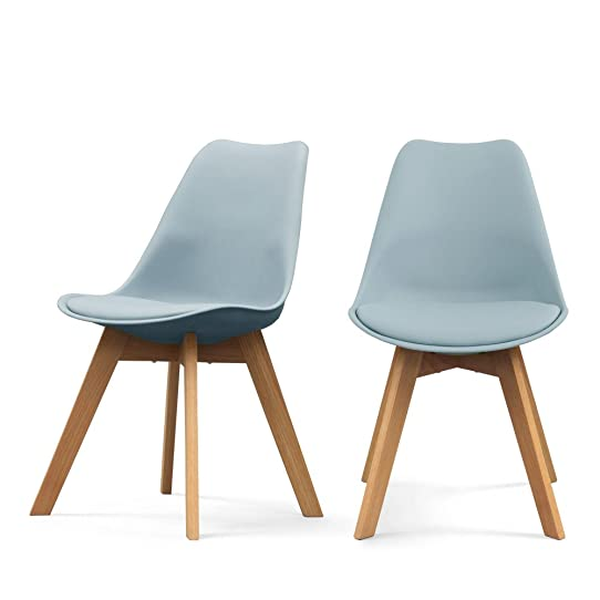 Lot de 2 chaises design Ormond Log - Couleur - Bleu gris: Amazon ...