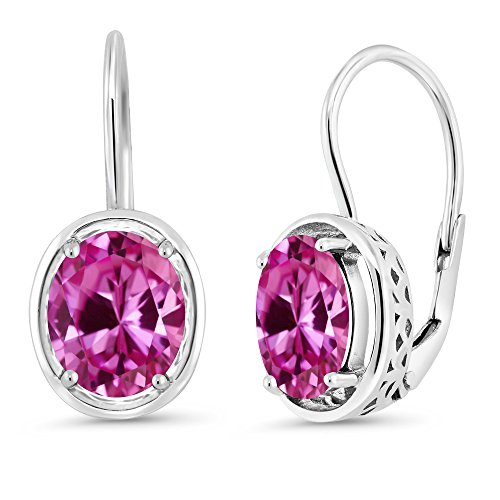 Oval Earrings Sapphire Pink (Gem Stone King 4.80 Ct Oval Pink Created Sapphire 925 Sterling Silver Dangle Earrings)